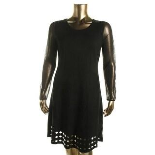 Elie Tahari Womens Zita Merino Wool Laser Cut Sweaterdress