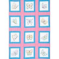 "Butterflies - Themed Stamped White Quilt Blocks 9""X9"" 12/Pkg"