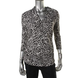 Vince Camuto Womens Pullover Top Animal Print Ruched - m