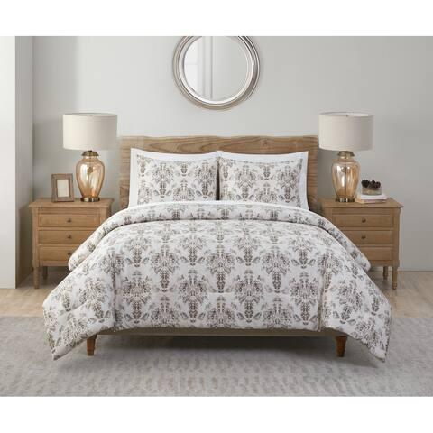 Tahari Home Marla Taupe Damask Comforter Set