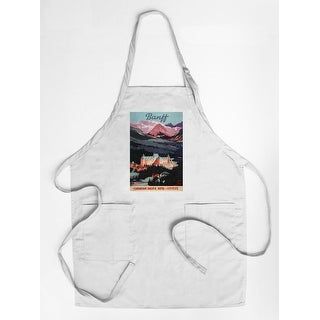Banff, Alberta, Canada - Exterior View of Banff Springs Hotel - Vintage Advertisement (Cotton/Polyester Chef's Apron)