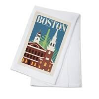 Boston, Massachusetts - Woodblock - LP Artwork (100% Cotton Towel Absorbent)