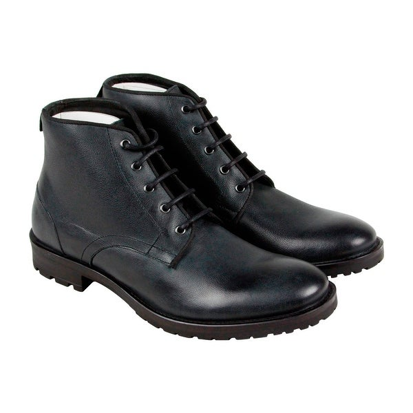 GBX Brasco Mens Black Leather Casual Dress Lace Up Boots Shoes