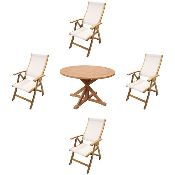 "Courtyard Casual Heritage Teak Flag Leg 48"" Dining Table with 4 Sling Recline Arm Chair 5 Piece Set"