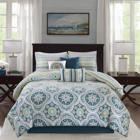 Madison Park Delta Teal 7 Pieces Reversible Cotton Sateen Printed Comforter Set