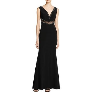 JS Boutique Womens Formal Dress V-Neck Beaded