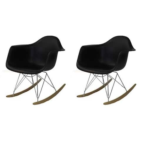 Kids Eiffel Rocker Dining Chair with Wooden Base - Black (set of Two)