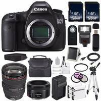 Canon EOS 5DS R DSLR Camera (International Model) 0582C002 + Canon EF 24-105mm f/4L IS USM Lens + 128GB Card Bundle