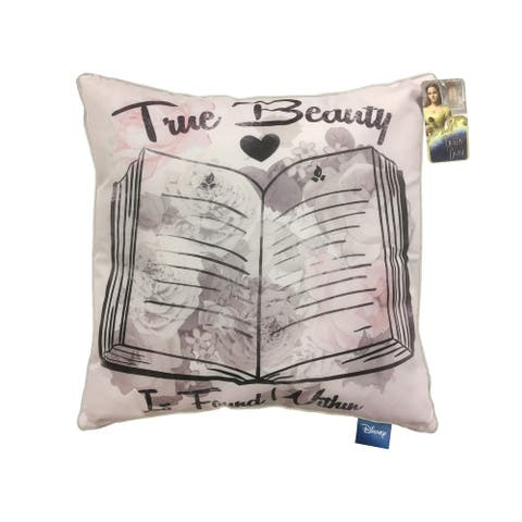 "Disney Beauty & The Beast True Beauty is Found Within 16"" Square Decorative Pillow"
