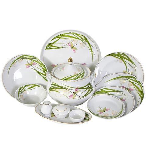 STP-Goods Dragonfly 37 Piece Porcelain Dinnerware Set For 6