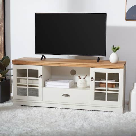 "Safavieh Trudy White Washed/ Oak 55-inch Storage TV Media Stand - 54.8"" W x 15.4"" L x 24.1"" H"