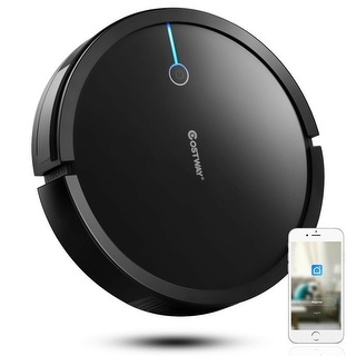Link to Costway Robot Vacuum Cleaner Self-Charge App Voice Control Filter Water Tank WhiteBlack Similar Items in Vacuums & Floor Care