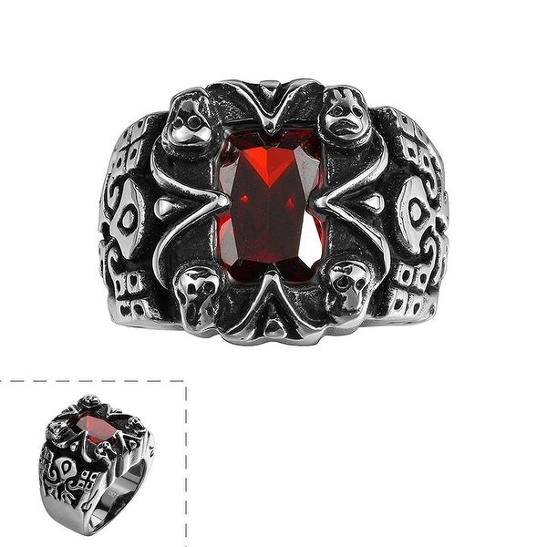 Vienna Jewelry Centerpiece Ruby Gem Stainless Steel Ring