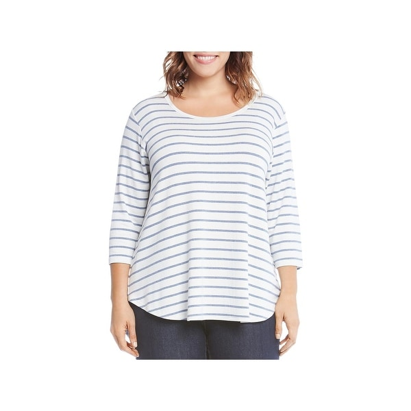 5c3856c1392 Shop Karen Kane Womens Plus T-Shirt Striped Crewneck - 3X - Free ...