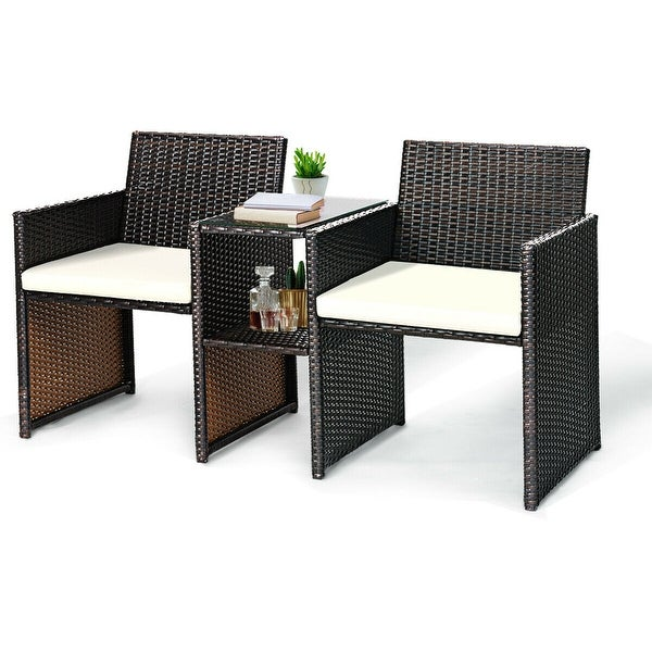 Costway Patio Rattan Loveseat Table Chairs Chat Set Seat Sofa