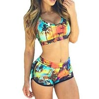 High Waist Palm Tree Bikini Set