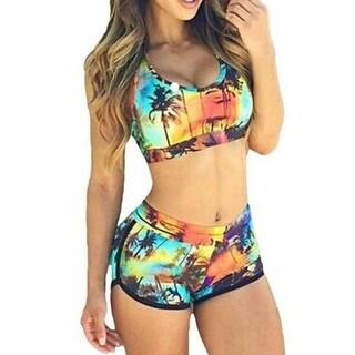 High Waist Palm Tree Bikini Set