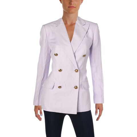 Lauren Ralph Lauren Womens Ryen Double-Breasted Blazer Linen Blend Long Sleeves