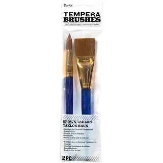 Brown Taklon Brush Set-Round & Flat 2/Pkg