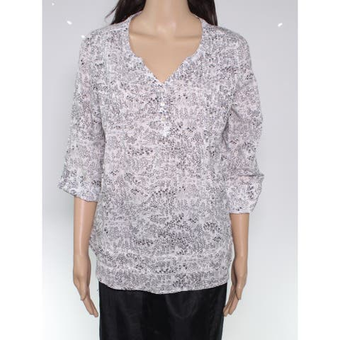 Fat Face Women Blouse Black Size 10 Floral Pintuck Roll Tab Sleeve