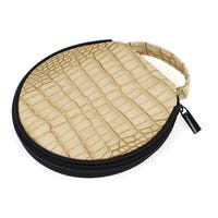 Unique Bargains Hand Strap 20 DVD CD Discs Holder Bag Zip Up Round Case Organizer Beige