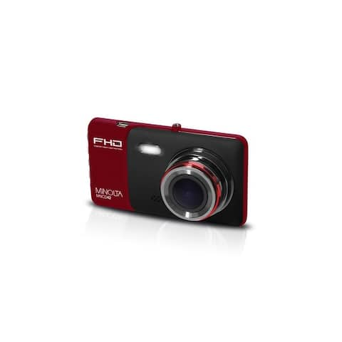 "Minolta Full HD 1080p Wide Angle Car Dash Camera with G-Sensor, HDR, Loop Recording & 4"" LCD (Red)"