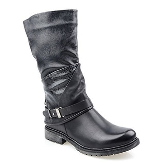 Eyekepper Women's Fashion Two Tone Knee High Boots with Side Zipper Design Ankle Buckle Strap Low Heel Boot Black