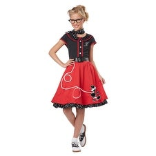 Girls 50's Sweetheart Red Poodle Skirt Halloween Costume