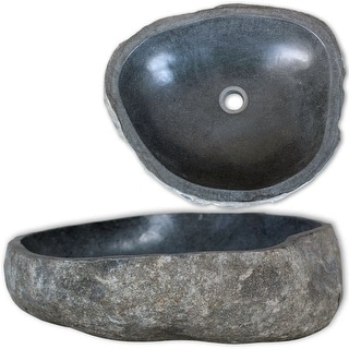 "vidaXL Wash Basin Natural River Stone 14.9""-17.7"" Washbowl Bowl Sink Washroom"