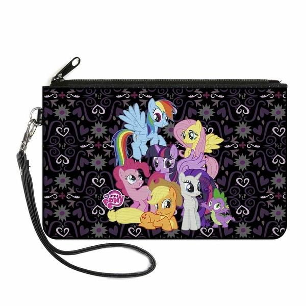 Mlp Group Shot Mlp Monogram Black Purples Canvas Zipper Wallet