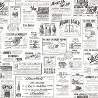 Brewster CTR64272 Adamstown Ivory Vintage Newspaper Wallpaper - ivory vintage - N/A