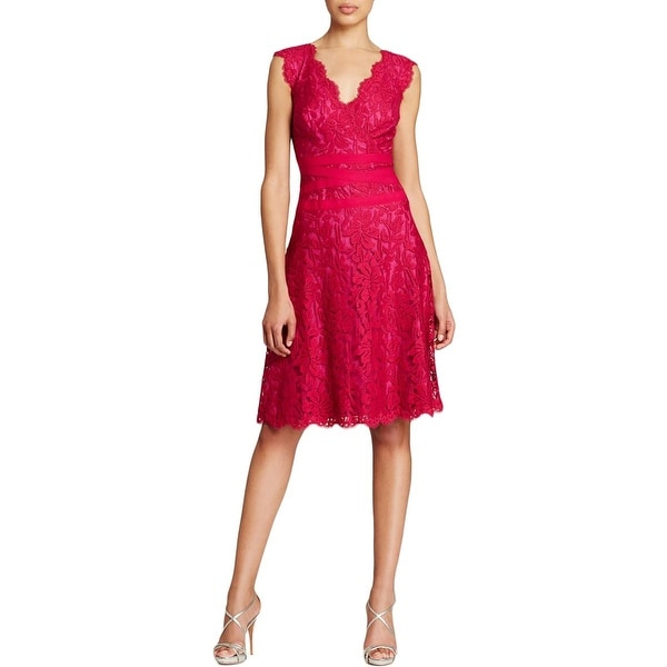 Tadashi Shoji Womens Marna Cocktail Dress Banded Embroidered