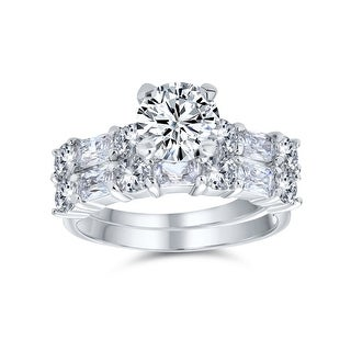 Link to 2CT Round Solitaire AAA CZ Wedding Baguette Band Engagement Ring Set Similar Items in Rings