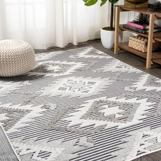 Link to JONATHAN  Y Sumak High-Low Pile Neutral Diamond Kilim Indoor/Outdoor Area Rug Similar Items in Rugs
