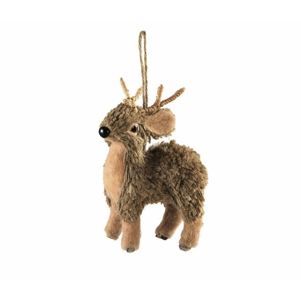 "6.25"" Country Cabin Jute and Twig Woodland Forest Reindeer Christmas Ornament - brown"