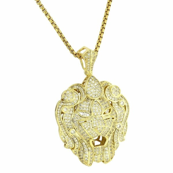 "Custom Zar Lion Pendant 14k Gold Tone Full Iced Out 24"" Chain Lab Diamonds"