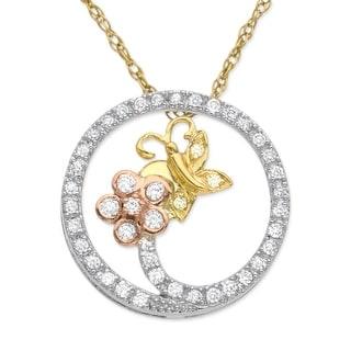 1/5 ct Diamond Butterfly Circle Pendant in 14K Three-Tone Gold
