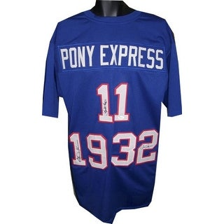 Lance McIlhenny signed Pony Express Blue Custom Stitched Football Jersey XL w/ Craig James & Eric Dickerson- JSA Hologram