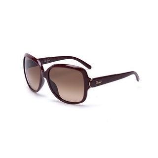Chloe Women's Oversized Rectangular Sunglasses Brown - Small