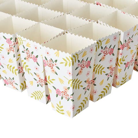 Bulk 100pcs Floral Popcorn Boxes Containers, Birthday Party Favor Supplies 20oz - 100 Pcs