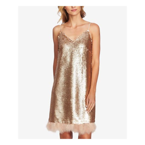 CECE Gold Spaghetti Strap Above The Knee Shift Dress Size 14