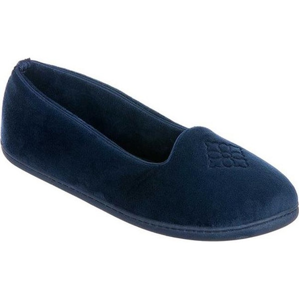 65fa837122cc Dearfoams Women  x27 s Microfiber Velour Indoor Outdoor Slipper Peacoat