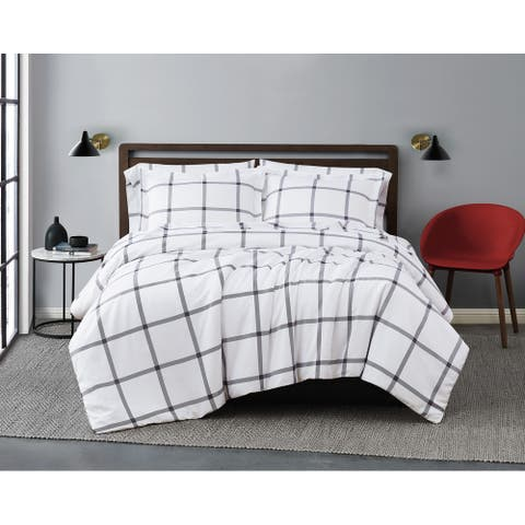 Truly Soft Printed Windowpane Duvet Cover Set