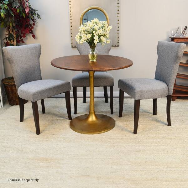 Rayna 36 Inch Round Wood Top Dining Table Overstock 31904810 Elm Gold