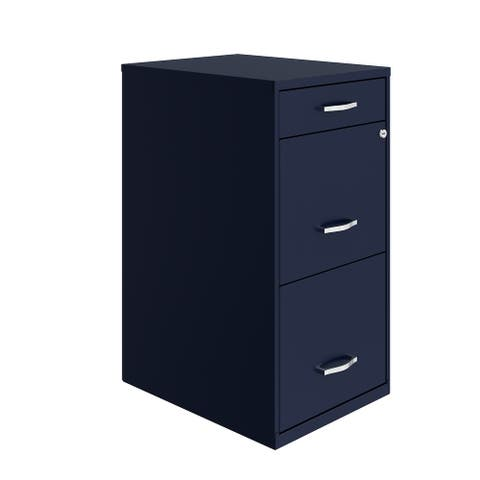 "Space Solutions 18"" Deep 3 Drawer Metal File Cabinet, Navy"