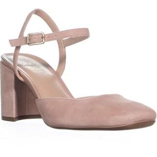 Franco Sarto Lavita Square Toe Ankle Strap Heels, Peach Suede - 7 us / 37 eu