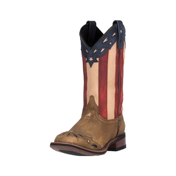 Laredo Western Boots Womens Freedom Leather Stars Stripes Brown