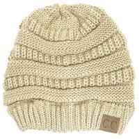 Gravity Threads CC Knit Soft Stretch Beanie Cap, Metallic Gold