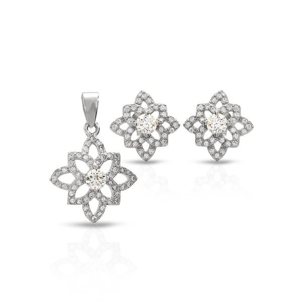 Mcs Jewelry Inc STERLING SILVER 925 CUBIC ZIRCONIA FLOWER EARRING AND PENDANT SET WITH CENTER STONE