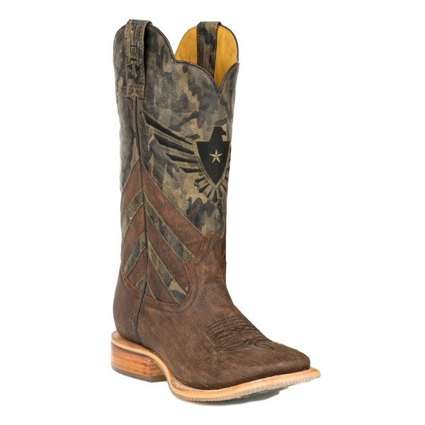 Tin Haul Western Boots Mens Camo Shaft Brown